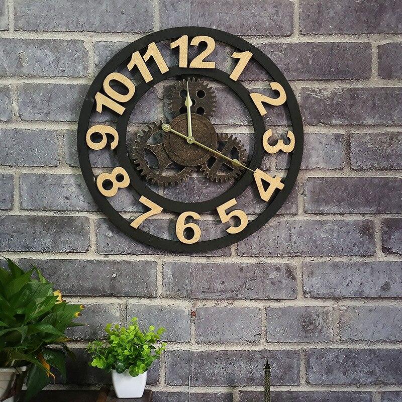 American vintage Старый передач часы Дерево творческое часы Гостиная Бар промышленного ветер часы висят настенные часы