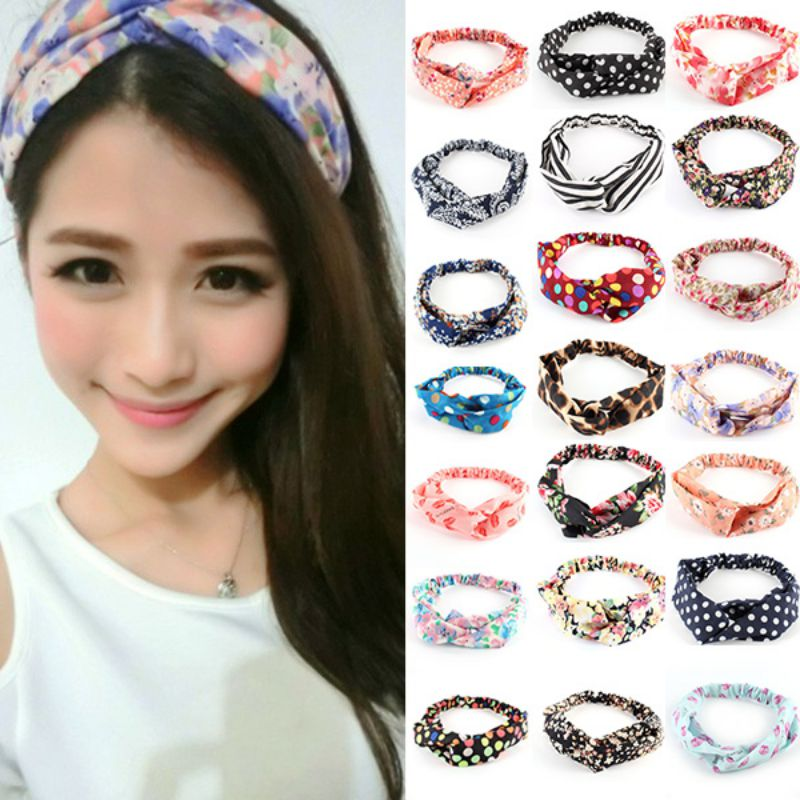 Women Floral Turban Twist Headband Head Wrap Twisted Knotted Knot Hair Band Candy Hot Sale Hairband 目