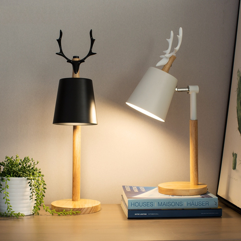 Nordic LED Table Lamps With Metal Lampshade For Bedroom White Bedside Desk lights Black Reading Lamps Wooden Luminaria FixturesNordic LED Table Lamps With Metal Lampshade For Bedroom White Bedside Desk lights Black Reading Lamps Wooden Luminaria Fixtures