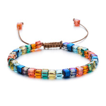 ZMZY Sparking Mixed Glass Crystal Bracelet Rainbow Style Fashion Shinning Charm Bracelets For Women Wedding Jewelry Gift(China)