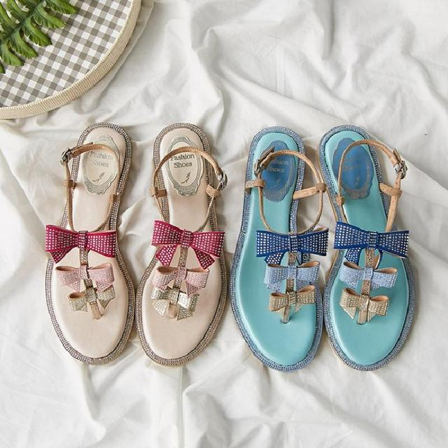 Woman Sandals Glitter Crystal Embellished Bow Tie Women Flats Brand Luxury Shoes Woman Slingback Summer Wedding Party Dress Shoe
