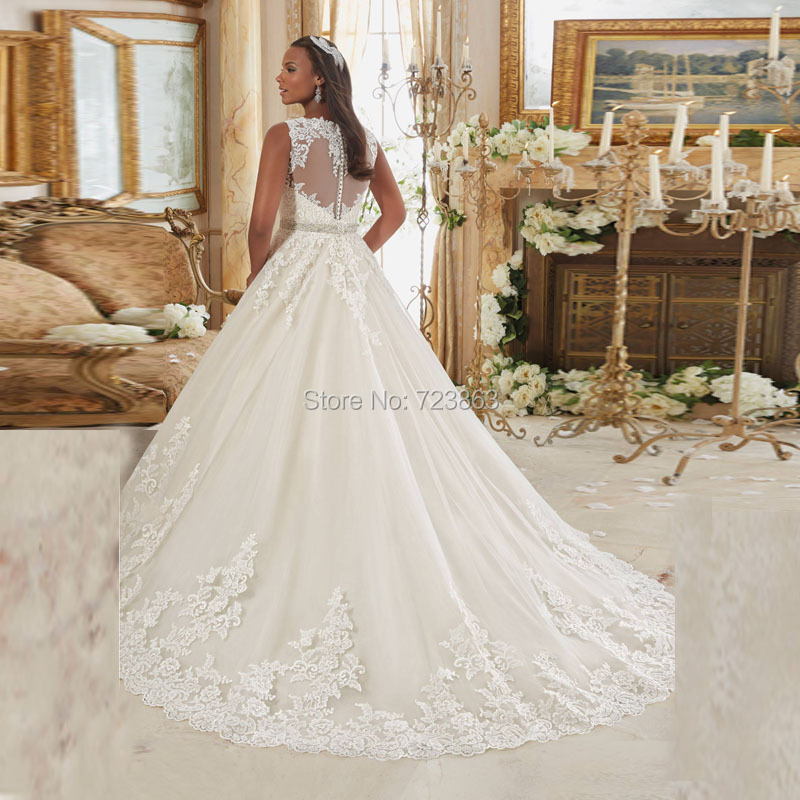 XH 199 Plus Size Wedding Dress 2017 Sexy V Neck Lace Applique Puffy Tulle  Bridal Gowns With Crystal Sashes Romantic White Dress-in Wedding Dresses  from ... 75a48af90b1a