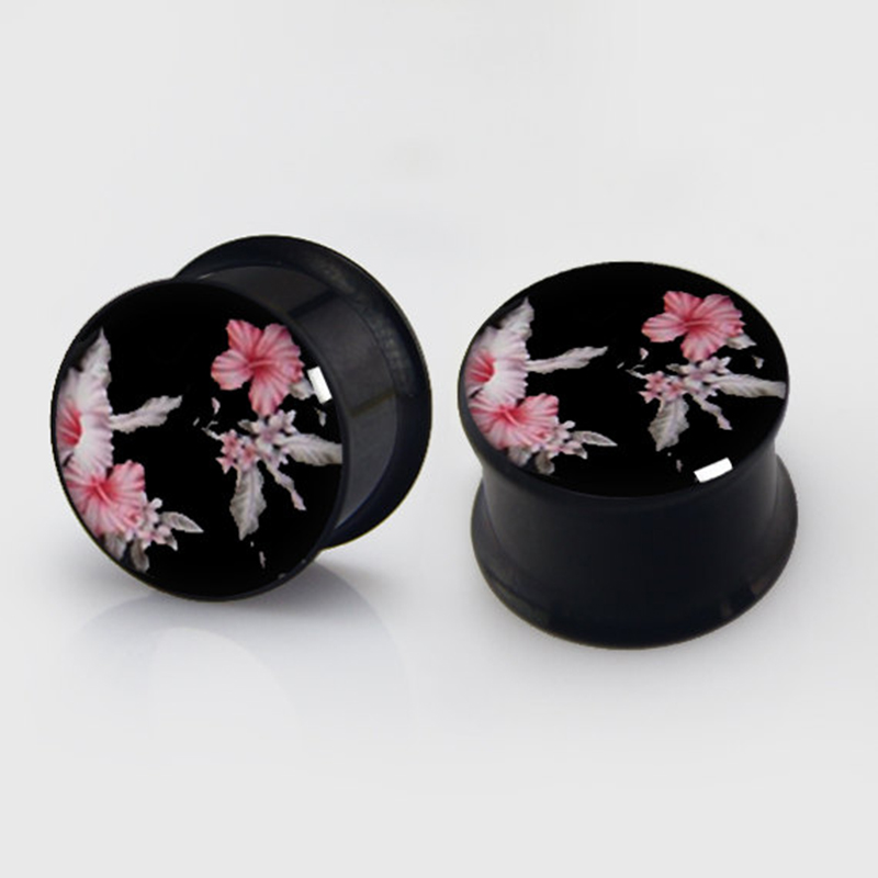 2 pieces Floral pattern Plugs anodized black ear plug gauges steel flesh tunnel body piercing jewelry 1 pair