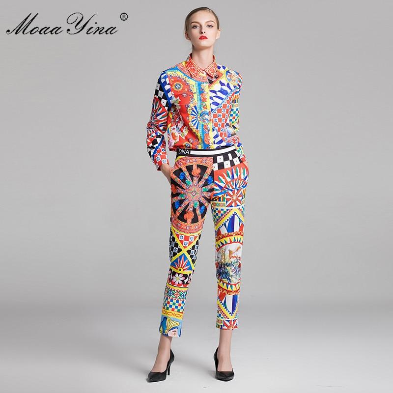 Kadın Giyim'ten Kadın Setleri'de MoaaYina Moda Tasarımcısı Seti Bahar Kadınlar Uzun kollu Vintage Ekose Çiçek Baskı Zarif Gömlek + 3/4 kalem pantolon Iki parçalı takım elbise'da  Grup 1