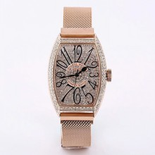 2019 Super Women Watches Rose Gold Quartz Dress Rhinestone Barrel Casual montre femme