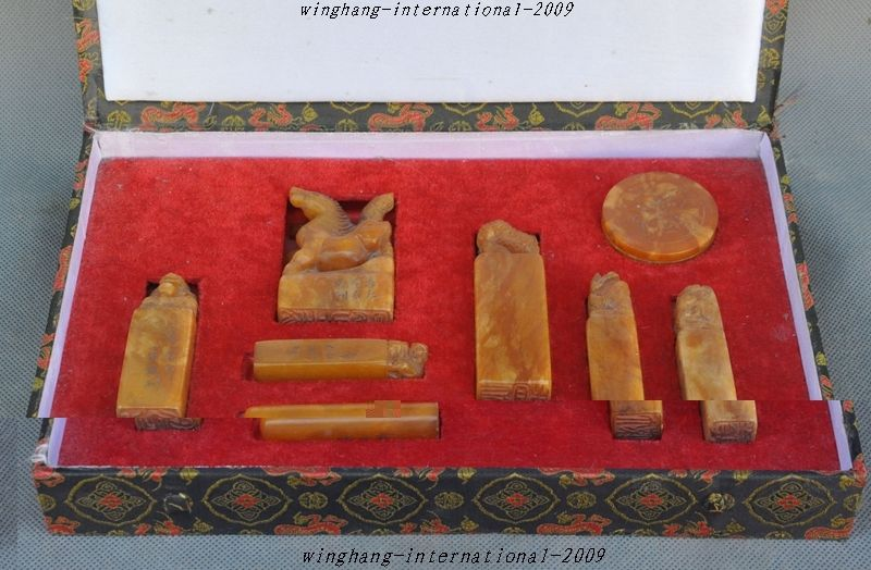 ChinA Shoushan Stone pure Hand-Carved Dragon Phoenix Horse Seal Stamp Signet Set