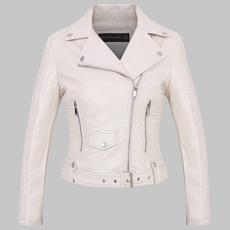 2018 High Quality Women White Winter Warm Faux Leather Jackets and Coats Lady Fur Lining Slim Fit Zippers Outerwear Biker cloth