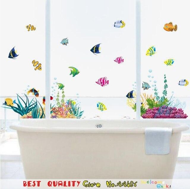 Hot Wall Sticker For Washroom Baby Bathroom Decoration Fish Carp Style Door Window Decorative