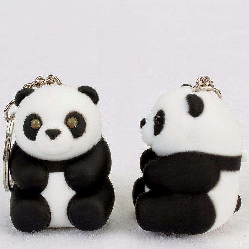 pretty Cartoon national treasure panda black and white key chain bag pendant font b LED b