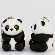 pretty Cartoon national treasure panda black and white key chain bag pendant LED flashlight gift for children wholesale