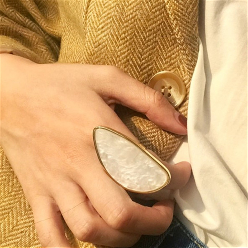 Fashion woman rings acetate plate The adjustable ring oval acrylic resin geometry rings Trendy Geometric Wedding bands rings