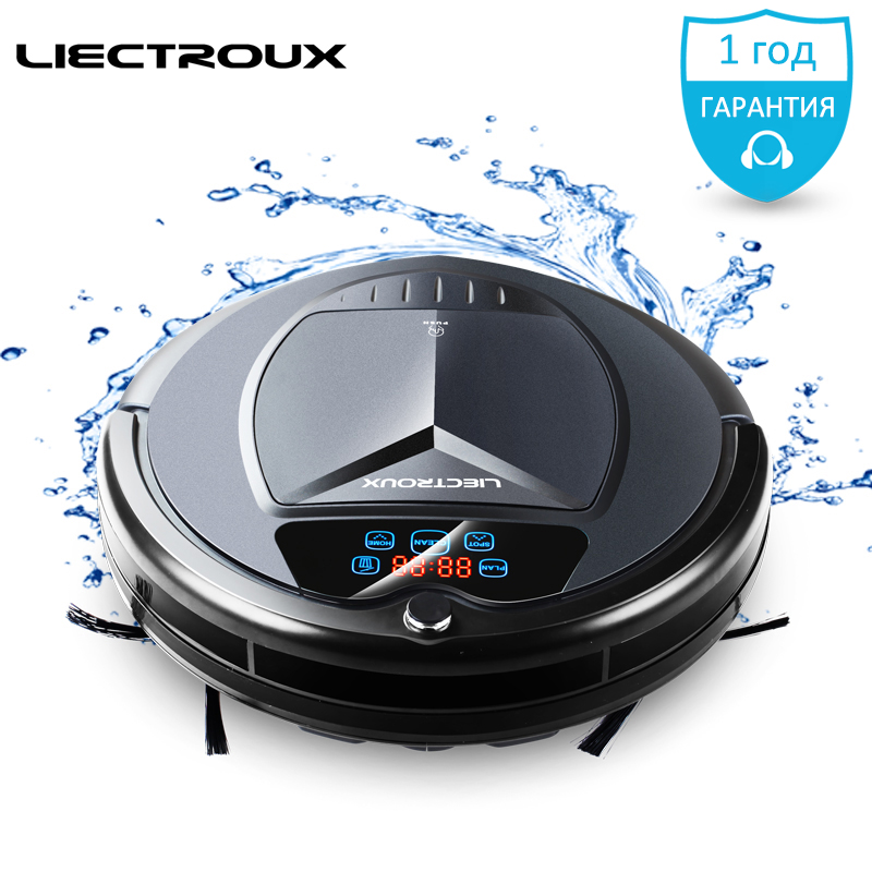 (Free ship)2017 new LIECTROUX Robot Vacuum Cleaner B3000 PLUS wash Home wash Water Tank mop s vacuum cleaning pet cat dog hair free all 2017 new liectroux robot vacuum cleaner a335 mop suction uv remote for home vacuum dry cleaning pet cat dog hair dust