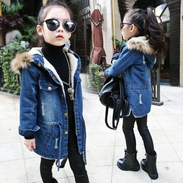 2016 New winter Kids girls denim jacket children plus thick velvet jacket big virgin long warm coat for cold winter