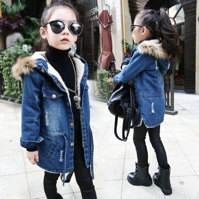 2017 New winter Kids girls denim jacket children plus thick velvet jacket big virgin long warm coat for cold winter