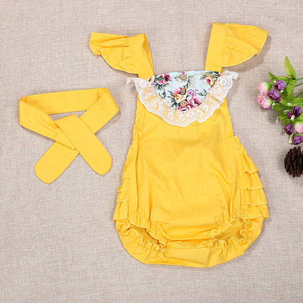 Summer Newborn Baby Girl Floral Clothes Ruffles Lace Romper +Headband 2PCS Set Outfit Sunsuit Princess Girls Costume