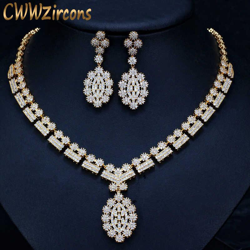 CWWZircons Full แอฟริกัน CZ คริสตัลแต่งงานเจ้าสาวสร้อยคอต่างหูดูไบ GOLD สีเครื่องแต่งกายชุดเครื่องประดับสำหรับสตรี T106