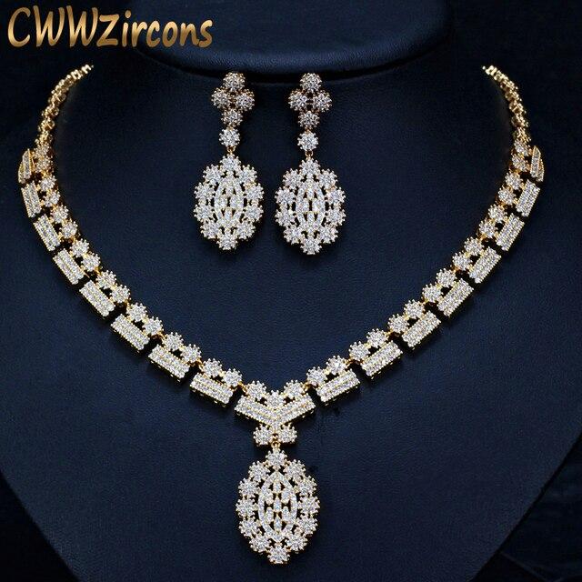 Cwwzircons 전체 아프리카 cz 크리스탈 신부 웨딩 목걸이 귀걸이 두바이 골드 컬러 의상 쥬얼리 세트 여성 t106