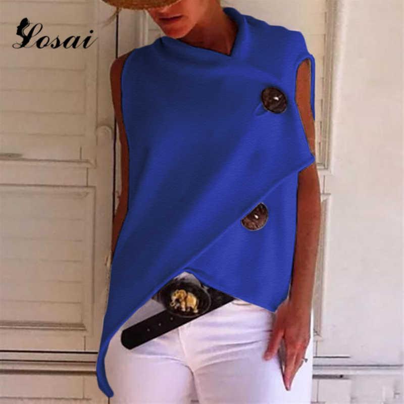 Women Casual Cotton Irregular Button Down Shirt Top Black White Red Sleeveless Female Blouse 2019 Summer Shirts Tops Harajuku