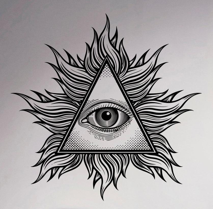 all seeing eye wall vinyl decal illuminati sigh pyramid Dog with Eyes Closed Lips Clip Art