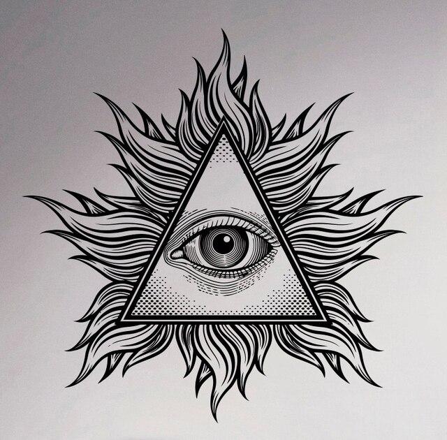 All Seeing Eye Wand Vinyl Aufkleber Illuminati Seufzen Pyramide Aufkleber Decor Wohnzimmer Kunst Wandbilder Kreative Haushaltswaren Design