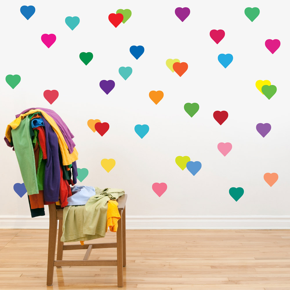 24pcs/set removable rainbow color love hearts peach pattern labels sticker for home decor