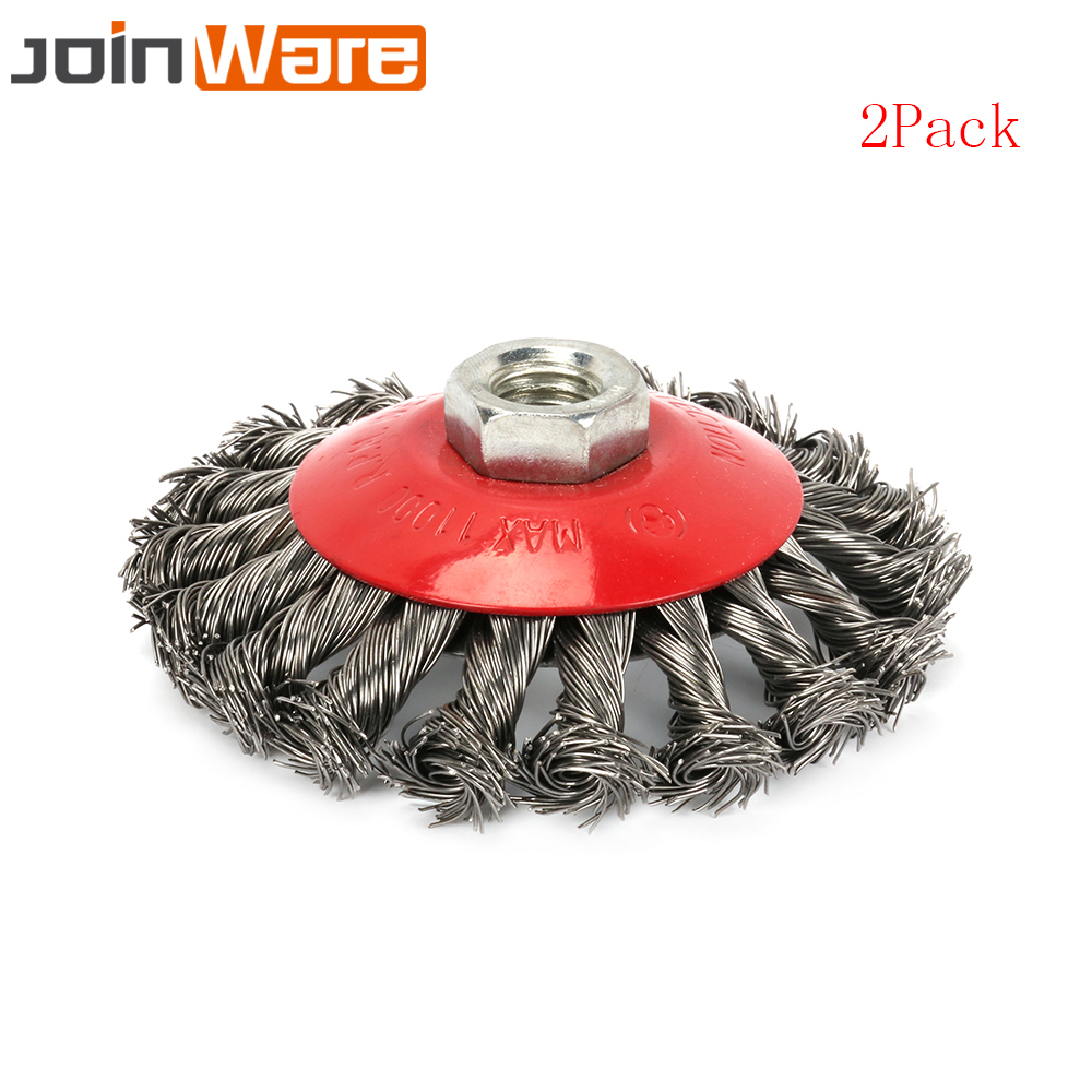 2Pcs Knotted Twist Wire Wheel Brush 4-Inch  M14 Thread Arbor For Grinders High Quality New 100mm