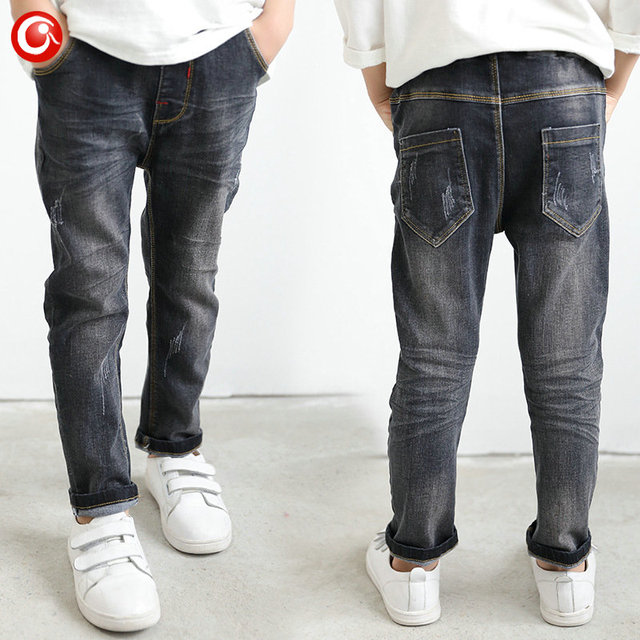 3-10 Years Kids Boys Jeans Pants With Elastic Waist Baby Girl Casual Denim Trousers Clothes Children Black Fashion Jeans 2017