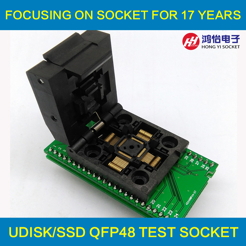 QFP48 TQFP48 LQFP48 to DIP48 MCU Programmer Pitch 0.5mm IC Body Size 7x7mm IC51-0484-806 Test Socket Adapter SMT/SMD Test socket freeshipping htqfp qfn48 to 0 5 mm dip48 qfn44 qfp48 qfp44 pqfp lqfp adapter plate