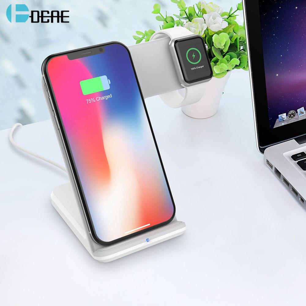 DCAE Qi Caricatore Senza Fili per Apple Orologio 2 3 4 iWatch iPhone XS Max XR X 8 Samsung S9 S8 10 w Veloce Senza Fili di Ricarica Supporto Del Telefono
