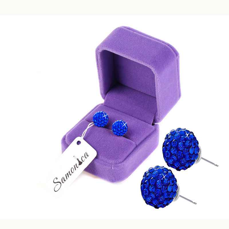 Royal Blue Earrings 7 Rows Czech Crystal Polymer Clay Ball 925 Sterling Silver Earring Back Ear Stud 10MM For Women & Men