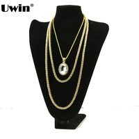 Mens Lady Gold Tone Tennis Iced Out Necklace 24 30 1 Row Simulated Diamond Hip Hop