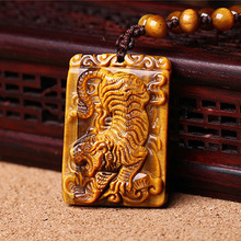Drop Shipping Tigers Eye Stone Pendant Hand Carved  Necklace With Chain Lucky Amulet Fine Jewelry For Men Women Gift