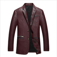 New Luxury Men Sheep Leather Jacket In Winter Large Size Men's Business Leather Blazer Black Blue Red Men Leather Jacket M 3XL
