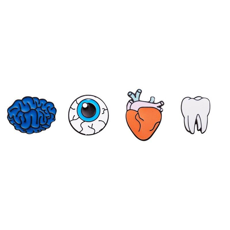 1 шт. цинковый сплав, эмаль глаз зубы мозга сердце Броши Шпильки для женщин ювелирные изделия человека Средства ухода за кожей органов пирси...