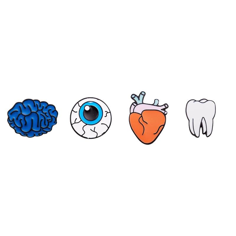 1PC Zinc Alloy Enamel Eye Teeth Brain Heart Brooches Pins For Womens Jewelry Human Body Organs Piercing Brooch Lapel Pin Collar