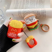 Cartoon Protective Case For AirPods cute Cover Silicone Bluetooth Earphone Apple Airpods 2 Popcorn fries finger ring
