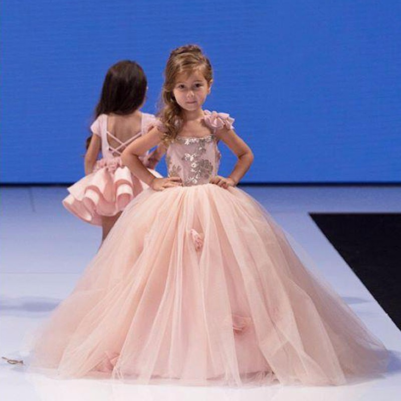 Princess Pink Lace   Flower     Girl     Dresses   2019 Big Bow Floor Length   Girls   Pageant   Dresses   First Communion   Dresses