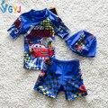 Traje de baño de los bebés de 90-115 cm coche de la historieta del traje de baño 2 unidades azul trajes de baño del bebé para el muchacho niño infantil de natación desgaste