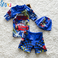 swimwear baby boys 90-115cm cartoon car baby swimsuit 2 pieces blue baby bathing suits for boy infant toddler swimming swim wear