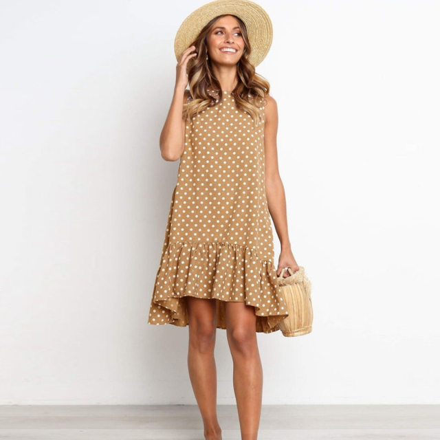 Lossky Women Summer Dress Polka Dot Chiffon Sleeveless Beach Mini Casual Yellow Sundress 2020 Fashion Plus Size Dress For Women 3