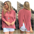 AQ211 Fashion Turtleneck Tshirt Loose Casual Women T shirts Long Sleevel Back High Jag Women Tops Shirts