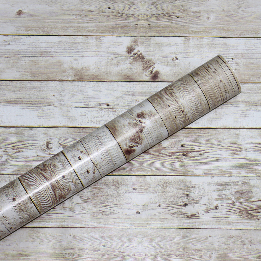 Haokhome faux distressed wood plank peel and stick - Faux wood plank wallpaper ...