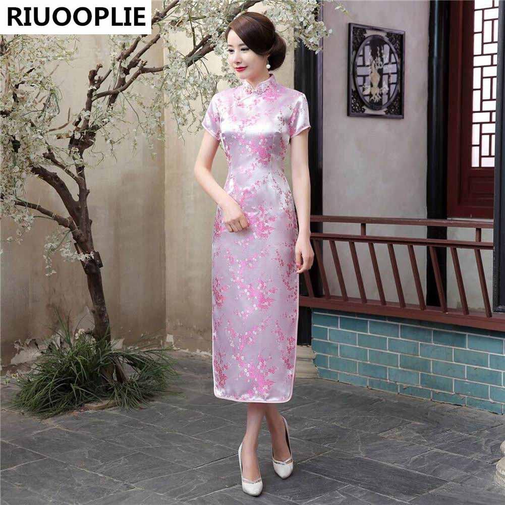 RIUOOPLIE Kinesisk stil kjole kvinner Long Cheongsam Elegant Slim - Nasjonale klær - Bilde 4