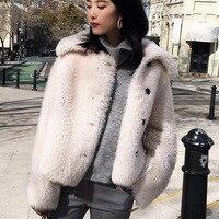 Korean Style Womens Merino Sheep Fur Double faced Fur Coat 2019 Autumn Turn Down Collar Short Fur Jacket Female Campera Mujer