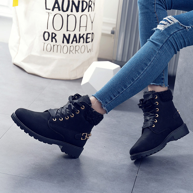 Женские ботинки; Лидер продаж 2020 года; Модные зимние ботинки на шнуровке; Женская обувь; Женские теплые бархатные зимние ботильоны; Женская обувь Зимние сапоги      АлиЭкспресс