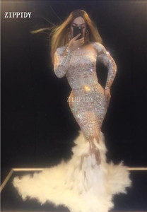 Image 4 - Sparkly Rhinestones Feather Nude Dress Sexy Nightclub Full Stones Long Big Tail Dress Costume Prom Birthday Celebrate Dresses