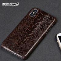 Genuine leather phone case for xiaomi 8 Screen fingerprint style mobile phone case Ostrich foot skin Half pack protective case
