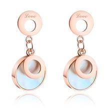 Moda tampões para Os Ouvidos Do Escudo Do Mar Cor de Rosa de Ouro de Aço Inoxidável Dangle Brincos Para As Mulheres Acessórios do Casamento Amor Feminino Jóias