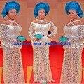 Últimas nigeriano mech francés tela de encaje Bordado de Alta Calidad Tela Africana 2016 Del cordón blanco de Tela de Encaje Para El Partido X013
