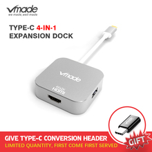 Vmade 최신 4 in 1 미니 어댑터 type c USB C 3.0 허브 hdmi 지원 오디오 및 비디오 전송 삼성 s8 용 미니 컨버터